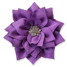8cm Diamante Dahlia PURPLE Fabric Flower Applique